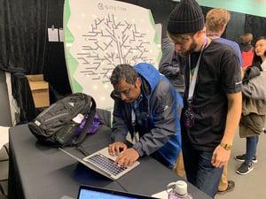 Aaron helping out a dapp developer install Assist.